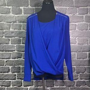 Calvin Klein Draped Front Blouse Sz M Royal Blue